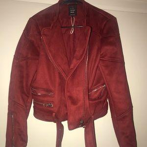 Red Suede Moto Jacket